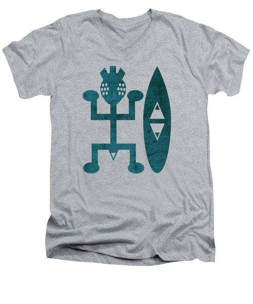 Male  Blue Men's V-Neck T-Shirt