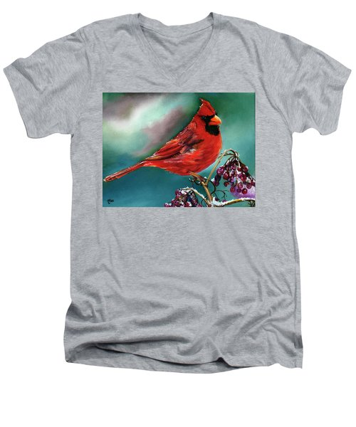 Male Cardinal And Snowy Cherries Men's V-Neck T-Shirt