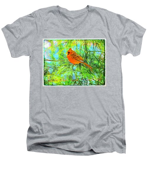 Male Cardinal In Juniper Tree Men's V-Neck T-Shirt