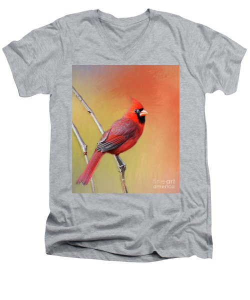 Men's V-Neck T-Shirt featuring the photograph Male Cardinal Perched by Myrna Bradshaw