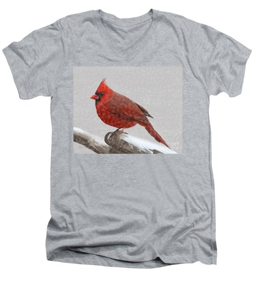 Men's V-Neck T-Shirt featuring the painting Male Cardinal In Snow by Rand Herron