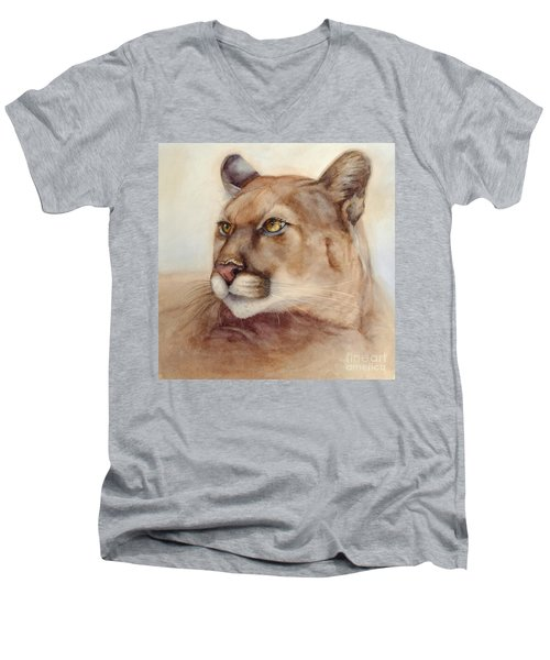Male Cougar Men's V-Neck T-Shirt by Bonnie Rinier