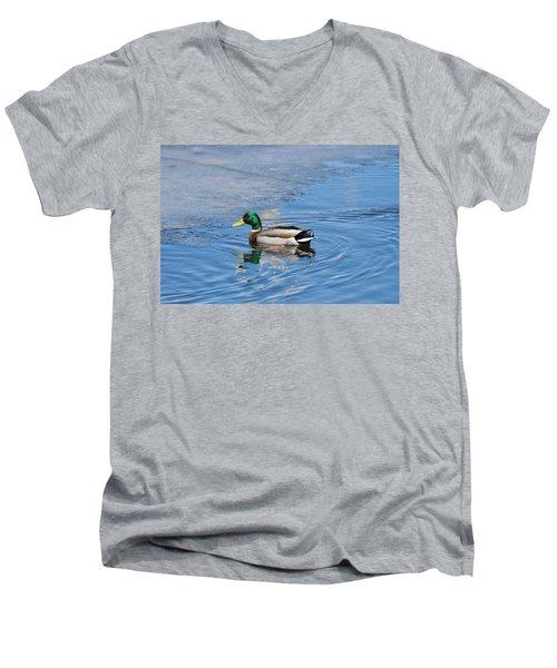 Men's V-Neck T-Shirt featuring the photograph Male Mallard Duck by Michael Peychich