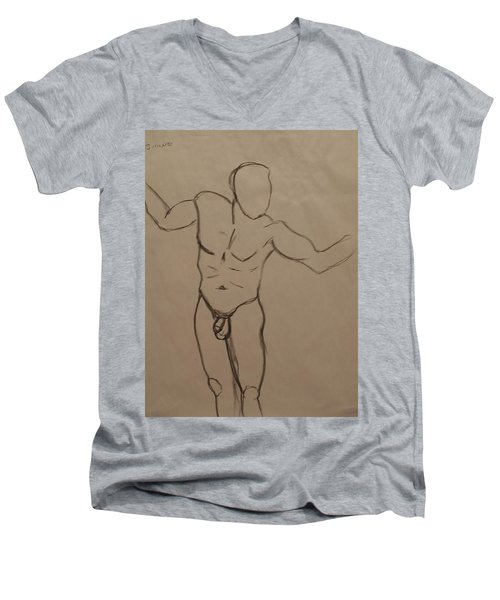Male Nude Drawing 2 Men's V-Neck T-Shirt