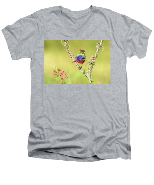 Male Painted Bunting #2 Men's V-Neck T-Shirt by Tom and Pat Cory