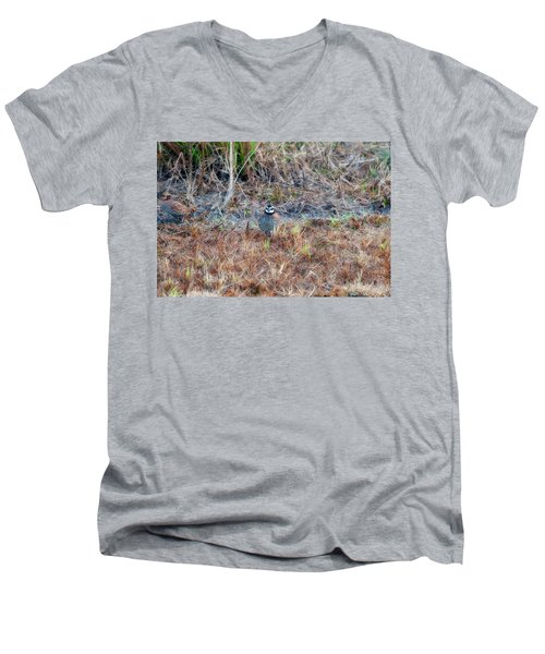 Male Quail In Field Men's V-Neck T-Shirt