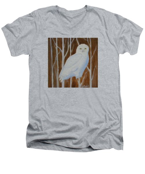 Male Snowy Owl Portrait Men's V-Neck T-Shirt