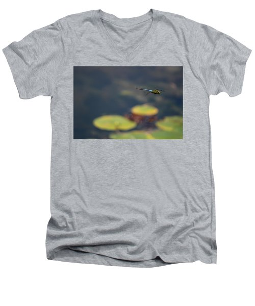 Malibu Blue Dragonfly Flying Over Lotus Pond Men's V-Neck T-Shirt