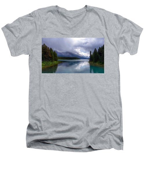 Maligne Lake Men's V-Neck T-Shirt by Heather Vopni
