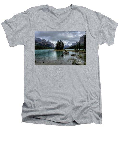 Maligne Lake Spirit Island Jasper National Park Alberta Canada Men's V-Neck T-Shirt