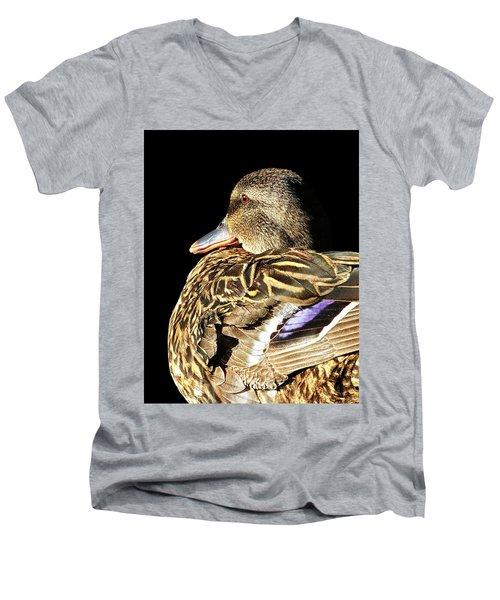 Mallard Duck Portrait Men's V-Neck T-Shirt