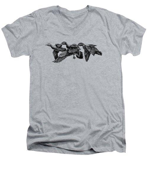 Mallard Ducks In Flight Bw Men's V-Neck T-Shirt