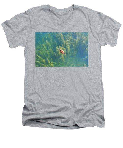 Mallard Over Seaweed Men's V-Neck T-Shirt