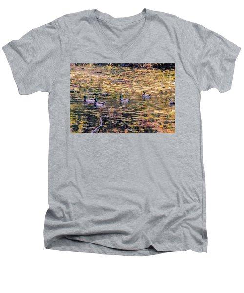 Mallards On Autumn Pond Men's V-Neck T-Shirt