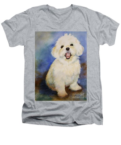 Men's V-Neck T-Shirt featuring the painting Maltese Named Ben by Marilyn Jacobson