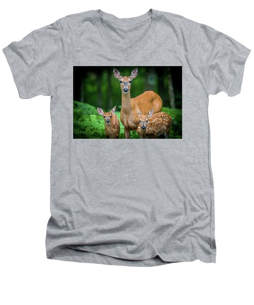 Mama And Fawns Men's V-Neck T-Shirt