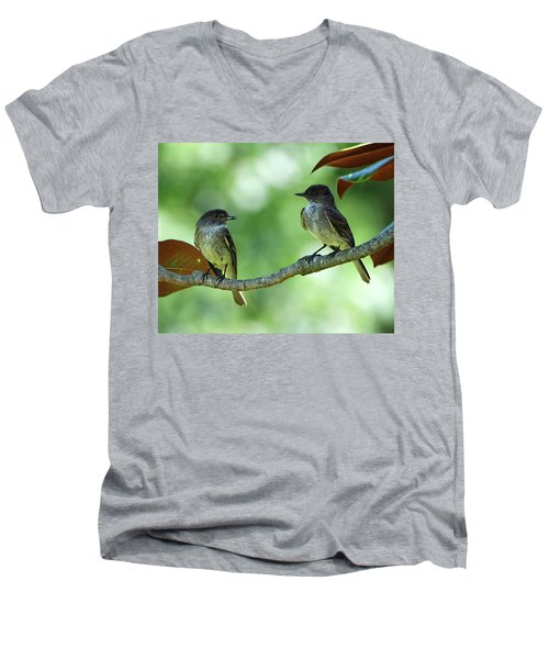 Mama And Papa Kingbird Men's V-Neck T-Shirt