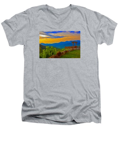 Blue Ridge Sunset From Mama Gertie's Hideaway Men's V-Neck T-Shirt