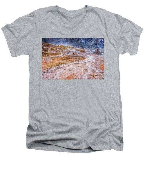 Mammoth Terraces Of Yellowstone Men's V-Neck T-Shirt