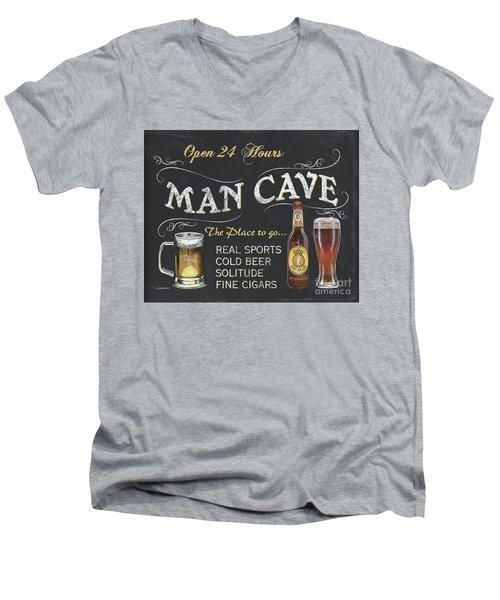 Man Cave Chalkboard Sign Men's V-Neck T-Shirt by Debbie DeWitt