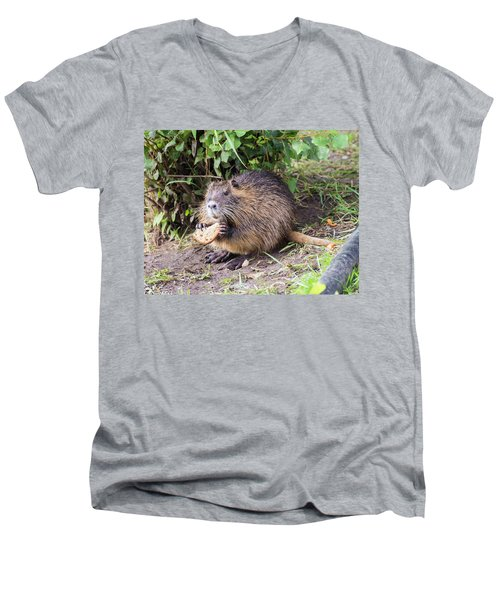 Men's V-Neck T-Shirt featuring the photograph Man Does Not Live By Bread Alone by Alex Lapidus