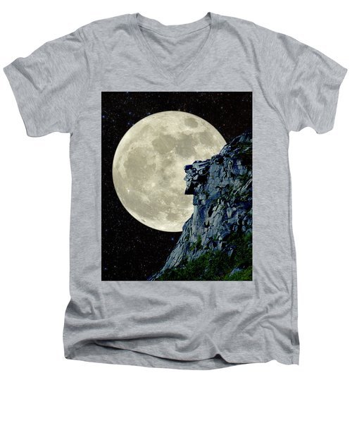 Men's V-Neck T-Shirt featuring the photograph Man In The Moon Meets Old Man Of The Mountain Vertical by Larry Landolfi