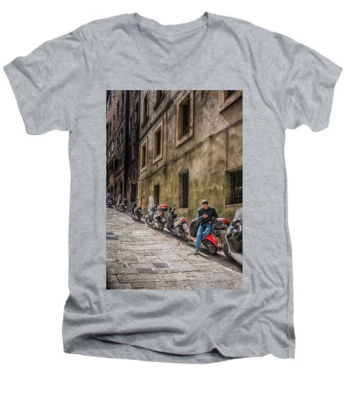 Man On A Scooter Siena-style Men's V-Neck T-Shirt