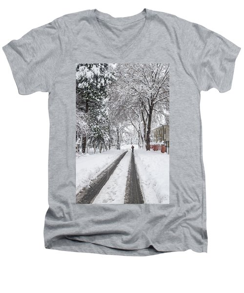 Man On The Road Men's V-Neck T-Shirt