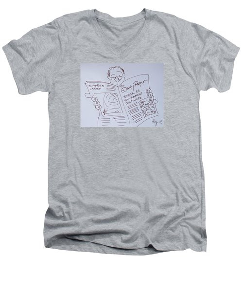 Man Reading A Newspaper Cartoon - What Is The World Coming To Men's V-Neck T-Shirt