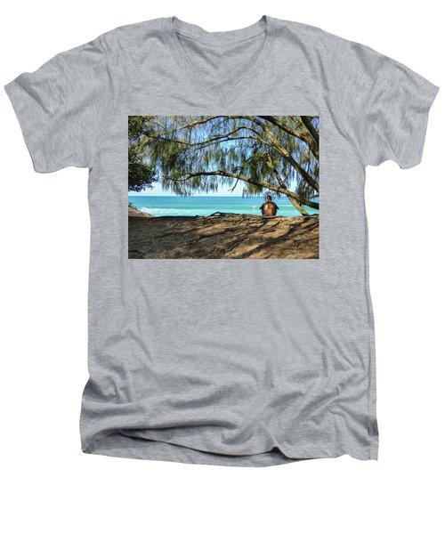 Man Relaxing At The Beach Men's V-Neck T-Shirt