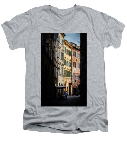 Man Walking Alone In Small Street In Siena, Tuscany, Italy Men's V-Neck T-Shirt