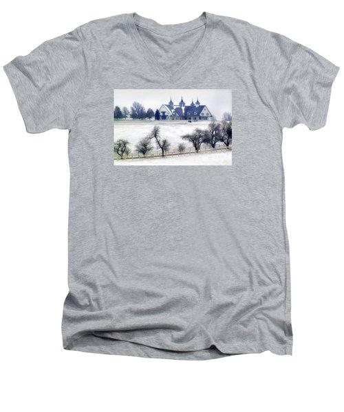 Manchester Farm In Winter Men's V-Neck T-Shirt