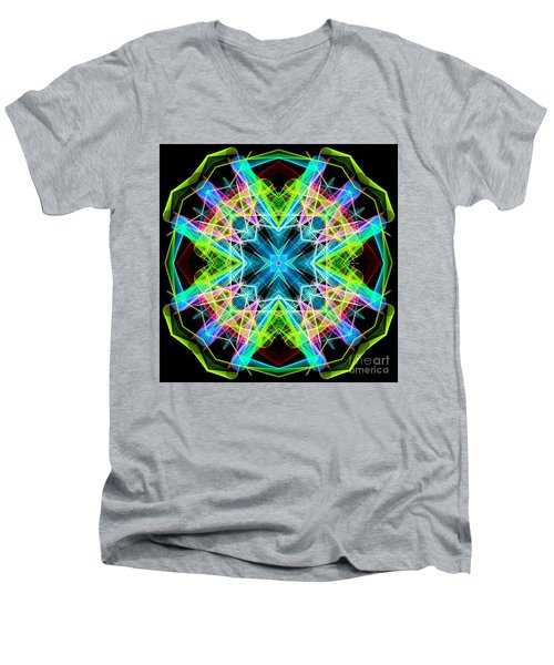 Men's V-Neck T-Shirt featuring the digital art Mandala 3308a  by Rafael Salazar