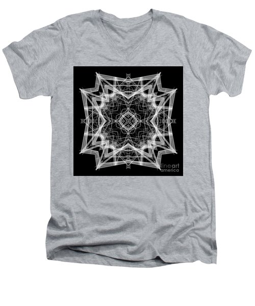 Men's V-Neck T-Shirt featuring the digital art Mandala 3354b In Black And White by Rafael Salazar