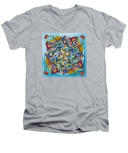Mandala Fish Pool Men's V-Neck T-Shirt by Bedros Awak