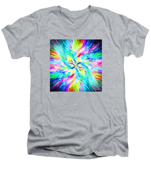 Men's V-Neck T-Shirt featuring the photograph Mandala Twirl 03 by Jack Torcello