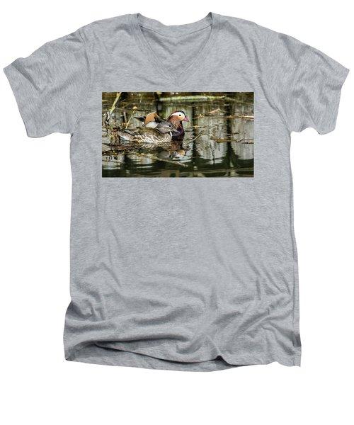 Mandarin Ducks The Couple Men's V-Neck T-Shirt by Torbjorn Swenelius