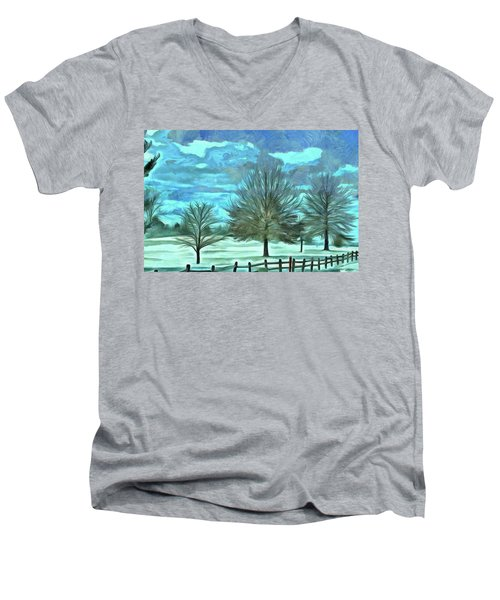 Men's V-Neck T-Shirt featuring the mixed media Mandisa by Trish Tritz