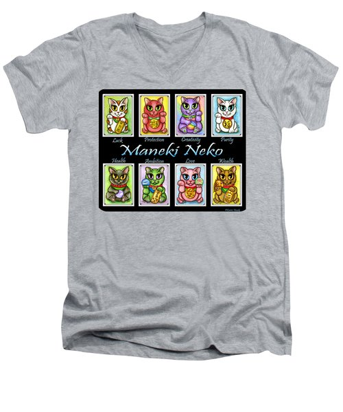 Maneki Neko Luck Cats Men's V-Neck T-Shirt