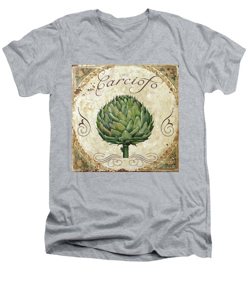 Mangia Artichoke Men's V-Neck T-Shirt by Mindy Sommers
