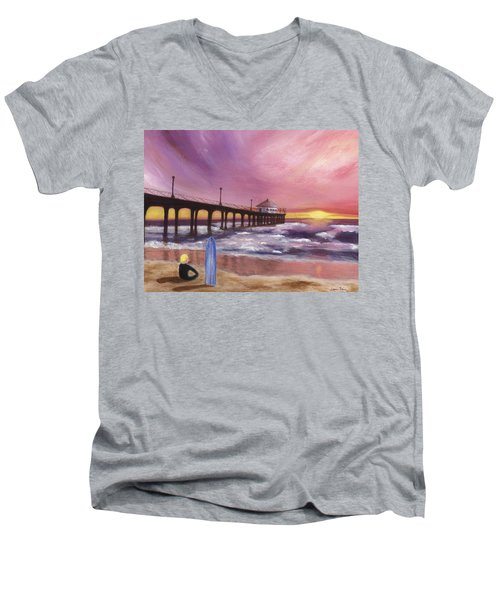 Manhattan Beach Pier Men's V-Neck T-Shirt by Jamie Frier