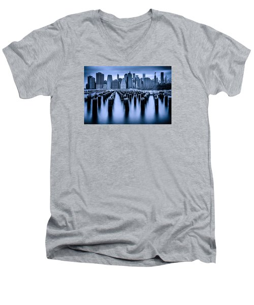 Men's V-Neck T-Shirt featuring the photograph Manhattan Blues by Chris Lord