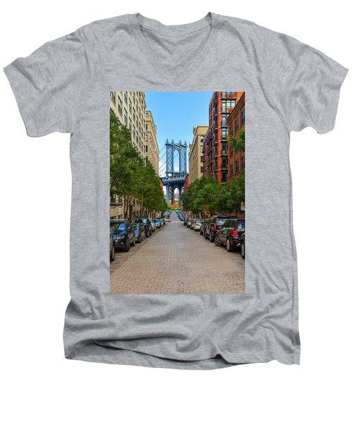 Men's V-Neck T-Shirt featuring the photograph Manhattan Bridge by Emmanuel Panagiotakis