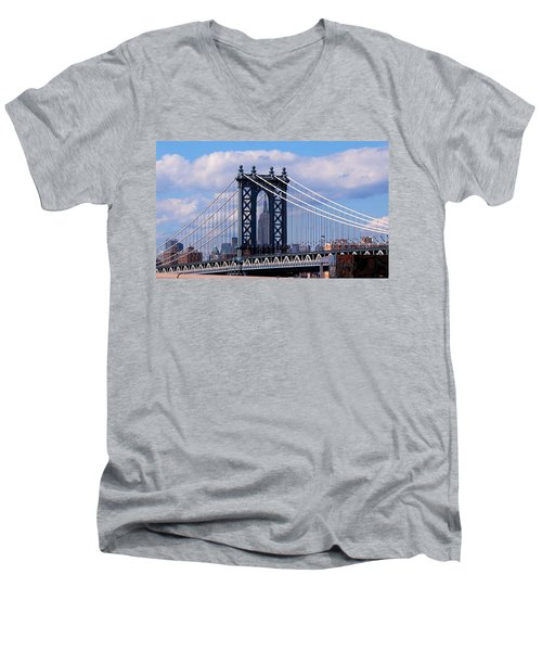 Manhattan Bridge Framing The Empire State Building Men's V-Neck T-Shirt