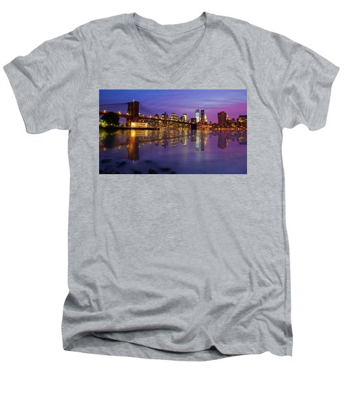 Men's V-Neck T-Shirt featuring the photograph Manhattan Reflection by Mircea Costina Photography