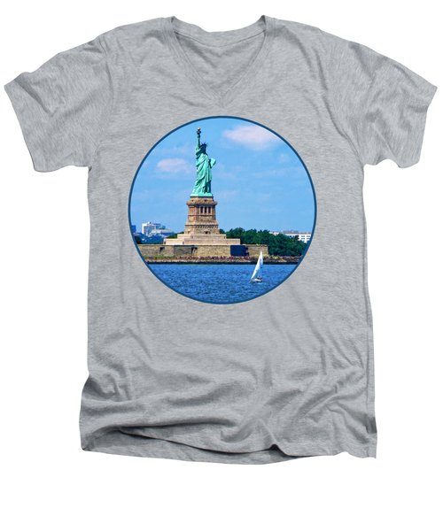 Manhattan - Sailboat By Statue Of Liberty Men's V-Neck T-Shirt