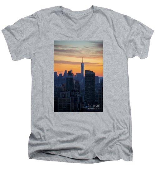 Manhattan Skyline At Dusk Men's V-Neck T-Shirt by Diane Diederich