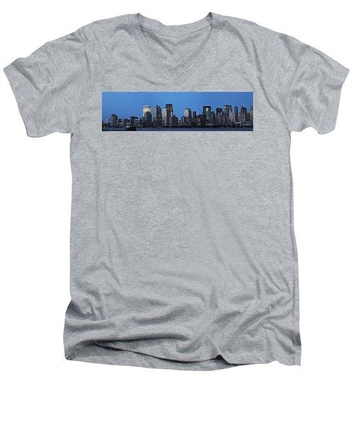 Men's V-Neck T-Shirt featuring the photograph Manhattan Skyline by John Haldane