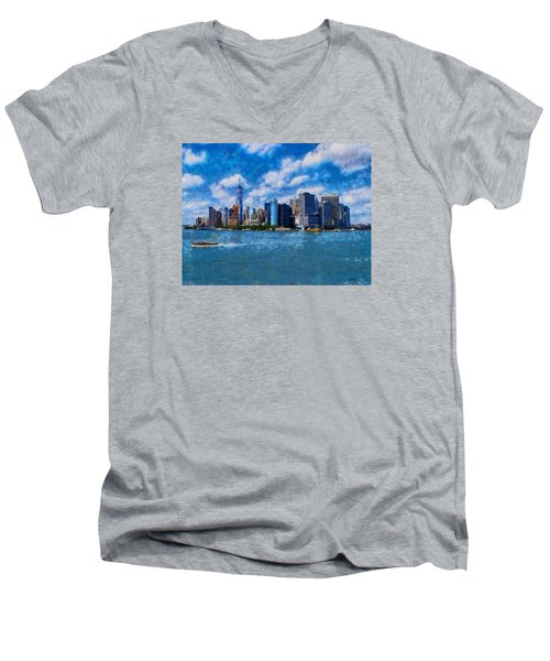 Manhattan Skyline Men's V-Neck T-Shirt by Kai Saarto