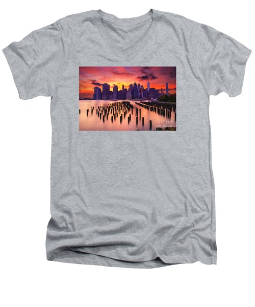 Men's V-Neck T-Shirt featuring the photograph Manhattan Sunset by Rima Biswas